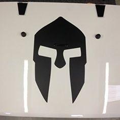 Black Jeep Hood Decal Spartan Helmet