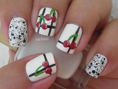 Nail Art - Vintage Cherries - Decoracion de uñas - YouTube