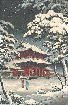 Lovely painting: Zojoji Temple in Snow, by Tsuchiya Koitsu, 1938