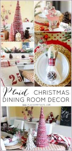 Plaid Christmas Dining Room Decor
