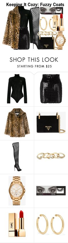 """Keeping It Cozy"" by nothing-better-than-a-riddle ❤ liked on Polyvore featuring GCDS, Yves Saint Laurent, MICHAEL Michael Kors, Prada, Le Silla, GUESS, Michael Kors, Huda Beauty and Jennifer Fisher"