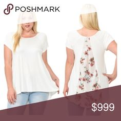 """(Plus) Floral back top 95% rayon/ 5% spandex. Super soft and stretchy! I'm a 2x/16/18 and the 2x was a tiiiiiiny bit snug across the back. I'd say 1x = 12/14, 2x= 14/16, 3x= 16/18 Bust measured laying flat- easily stretches beyond measurement. Slightly high low- measurement is shortest/ longest points.  1x: L 29/33"""" B 38"""" 2x: L 29/33"""" B 40"""" 3x: L 30/34"""" B 42"""" ⭐️This item is brand new from manufacturer without tags.  🚫NO TRADES 💲Price is firm unless bundled 💰Ask about bundle discounts…"""