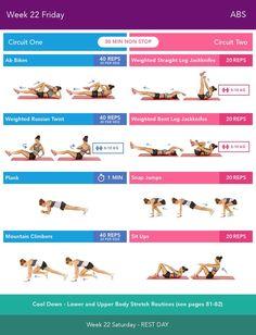 Week 22 Friday  Bikini Body Guide 2.0 by Kayla Itsines, weeks 13-24 (complete)