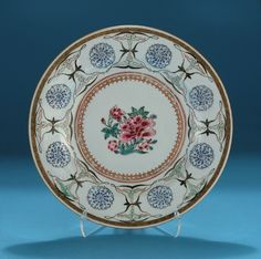 *FOR SALE* Click to read about the history and see more detailed images* UNUSUAL CHINESE EXPORT FAMILLE ROSE PLATE - Probably Persian Market, Early Qianlong, c1740