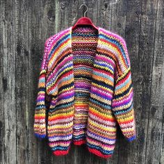 Gepard Gefion multistripe cardigan is an oversize mohair cardigan with multicoloured stripes. Buy the Gefion pattern at Gepard Garn! Knit Cardigan Pattern, Crochet Jacket, Striped Cardigan, Striped Knit, Ravelry, Crochet Woman, Garter Stitch, Needle And Thread, Diy Clothes