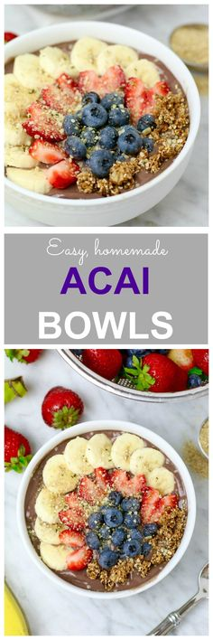Easy Homemade Acai Bowls - packed with nutritious ingredients like unsweetened acai, coconut milk, almond butter + wheat germ! Full of fiber, protein and healthy fat to start your morning right!