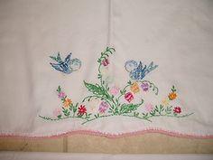 Vintage Pair Embroidered Pillow Cases Blue Birds Flowers Crochet Edge 28 x 21 | eBay