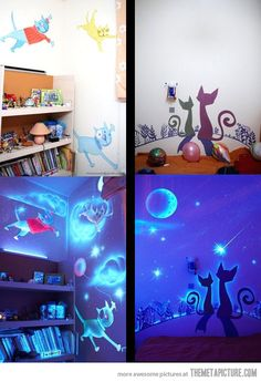 This is a wonderful use of blacklight  paint! Kids room, but I would do this for a guest room or a library!