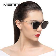 Only $10.77 , MERRY'S New Fashion Sunglasses Women Cat Eye Sun Glasses Brand Designer Classic Fashion Twin-Beams Flat Panel Lens UV400 S'7882 New Fashion, Fashion Models, Classic Fashion, Stylish Glasses For Women, Cat Eye Sunglasses, Sunglasses Women, Aesthetic Fashion, Retro Aesthetic, Glasses Brands