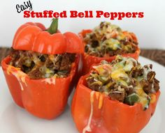 This easy stuffed bell peppers recipe is perfect for a weeknight meal. You won't believe how great it makes your house smell! Plus it's kid pleasing. This takes 50 minutes to prepare from chopping the veggies, to pulling it out of the oven. To make it a little faster, prepare your veggies before you leave for work in the morning. I used ground beef, but you could easily swap out turkey or make it vegetarian with quinoa.