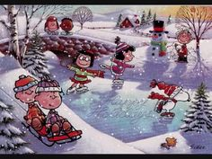 ', Christmas in the Snow, with Charlie Brown and the Peanuts Gang. Snoopy Feliz, Snoopy Et Woodstock, Peanuts Gang, Peanuts Cartoon, Images Snoopy, Snoopy Pictures, Christmas Albums, Christmas Music, Vintage Christmas
