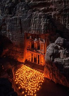 The Treasury is the most easily recognized ruin at the World Heritage site of Petra in Jordan. A few nights a week the local bedouin hold a light show at the base of this remarkable rock cut temple. Places Around The World, The Places Youll Go, Places To See, Around The Worlds, Wadi Rum, Beautiful World, Beautiful Places, Amazing Places, Beautiful Lights