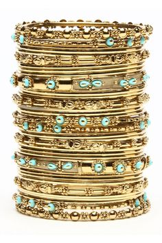 Turquoise + Gold Bangles ♥