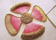 """stitchingsanity: """" (via Tracy A Franklin - specialist embroiderer: Working needle) """" Zardosi Embroidery, Pearl Embroidery, Tambour Embroidery, Embroidery Stitches, Hand Embroidery Designs, Embroidery Patterns, Lesage, Gold Work, Embroidery Techniques"""