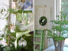 Decoração de Natal em verde e branco