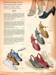 I've seen these making the rounds on Pinterest, labeled as 1940s shoes, and wanted to point out that they're actually modern repro or vintage-inspired shoes, which you can buy today!  They were Photoshopped to resemble a vintage catalog by Mena Trott of Sew Weekly, and can be seen here: http://www.sewweekly.com/2011/03/shopping-for-new-vintage-shoes/