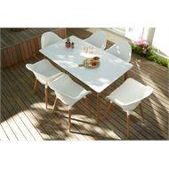 Puro Retro Wooden & Aluminium 6 Seater Rectangular Garden Furniture Set at Homebase.co.uk