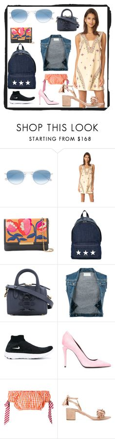 """SPRING FASHION"" by justinallison ❤ liked on Polyvore featuring Garrett Leight, Free People, Lizzie Fortunato Jewels, Givenchy, Anya Hindmarch, Maison Margiela, NIKE, Alexander Wang, House of Holland and Aquazzura"