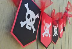 Pirate Happy Birthday Glitter Banner by SmileBeforeOpening on Etsy
