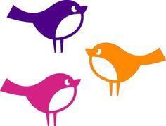 Vögelchen 3er-Set, aus Frühlingsgezwitscher, lila, pink, orange, Velours-Motiv zum Aufbügeln - PeppAuf.de