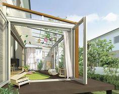 三協立山アルミ、アウトドアリビングの新シリーズ Love Home, My Dream Home, Modern Loft, Backyard, Patio, Terrace Garden, Home And Deco, Glass House, Home Renovation