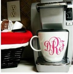 Monogrammed coffee cup. Of course!