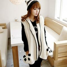 Panda-Pocket Piped Hooded Furry Vest from #YesStyle <3 Tokyo Fashion YesStyle.com