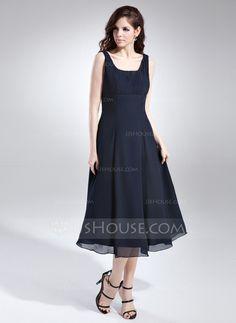 A-Line/Princess Square Neckline Tea-Length Chiffon Bridesmaid Dress With Ruffle (007015675)