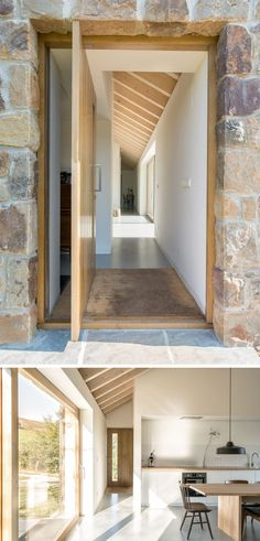 The rough exterior stone-walls and roof of this stone cottage contrast the bright white and wood contemporary interior. #StoneCottage #ContemporaryCottage