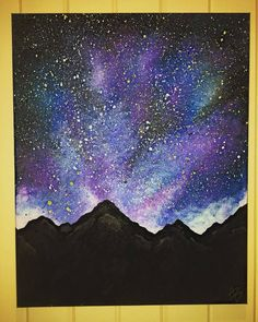 Do you have a passion for painting? Then here is The Basic Guide to Acrylic Painting Tips and Techniques for Beginners! Space Painting, Diy Painting, Painting & Drawing, Watercolor Paintings, Purple Painting, Galaxy Painting Acrylic, Dry Brush Painting, Night Sky Painting, Spray Paint Art