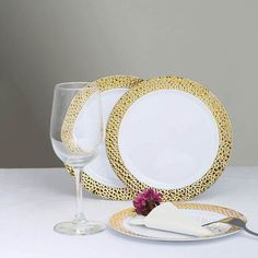Disposable Plastic Plates, Disposable Tableware, Gold Wedding Theme, Gold Wedding Decorations, Extravagant Wedding Decor, Gold Napkin Rings, Gold Table Runners, Gold Candle Holders