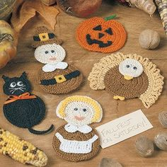 Harvest Medley Magnets Thread Crochet ePattern Buy online crochet thread patterns are of harvest medley magnets. It includes a jack-o'-lantern and black cat for Halloween and a turkey and a Pilgrim couple for Thanksgiving. Thanksgiving Crochet, Holiday Crochet, Halloween Crochet, Crochet Gifts, Free Crochet, Thanksgiving Turkey, Crochet Thread Patterns, Crochet Appliques, Crochet Potholders