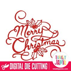 Merry Christmas Lettering Holly