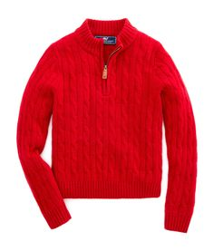 Shop Boys Cashmere Cable 1/4-Zip Swater at vineyard vines