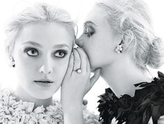 Love this sister shot of Dakota & Elle Fanning from their feature in W Magazine.