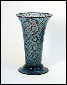 """Simon Gate or Edward Hald for Orrefors  """"Graal"""" vase in blue and red glass, c.1910s-20s. Engraved """"Orrefors 23"""""""
