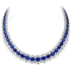Picchiotti's Passion necklace, white diamonds and oval sapphires set in platinum.