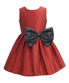 Another great find on #zulily! A.T.U.N. Garnet Shimmer Bow A-Line Dress - Infant, Toddler & Girls by A.T.U.N. #zulilyfinds
