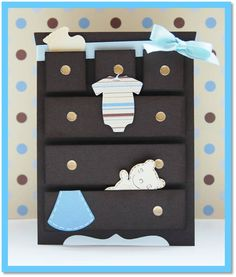 Baby Dresser Card - My Paper Love: Patches of Pink Design Team Link UP Party Card Ideas,Cards,Scrapbooking Ideas, Baby Boy Cards, New Baby Cards, Baby Shower Cards, Cricut Cards, Stampin Up Cards, Karten Diy, Baby Crafts, Kids Cards, Cute Cards
