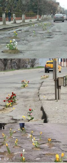 Repairing potholes, the Romanian way...