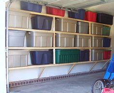 Garage Shelves to Keep Your Small Appliances: Colorful Boxes White Wall Cement Floor Garage Shelves