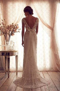 Andy Prom V-neck Brush Train A-line V-back Lace Wedding Dress, £1,073.99