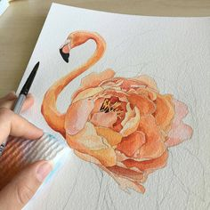 """6,317 Likes, 39 Comments - Inspiring Watercolors (@inspiring_watercolors) on Instagram: """"By @poli.bright.art - Flamingo ☀️ Tag #inspiring_watercolors for a chance to be featured.…"""""""