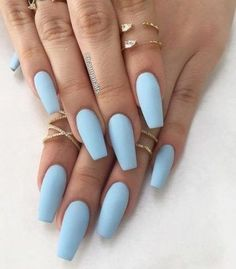 It's important to maintain the fashion and popularity of nails. In order to achieve your style in this spring, there is no better choice than coffin nails. Coffin nails can be short or long. Long coffin nails are bold and fashionable. The coffin nai Blue Acrylic Nails, Acrylic Nail Designs, Blue Matte Nails, Acrylic Gel, Matte Nail Colors, Light Blue Nails, Acrylic Nail Shapes, Stars Nails, Snowflake Nails