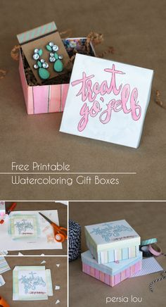 treat yoself, gift boxes, printabl gift, watercolor gift
