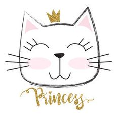 cute princess cat with a glitter crown. For print baby clothes t shirt child - Princess T Shirt - Ideas of Princess T Shirt - cute princess cat with a glitter crown. For print baby clothes t shirt child or wrapping paper. Kitty Party, Desenhos Old School, Video Chat, Birthday Wallpaper, Photo Chat, Cute Princess, Cat Birthday, Baby Prints, Cute Illustration