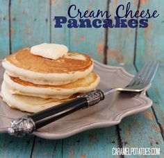 Tired of the same old pancake for breakfast? Not that there is anything wrong with the classic Buttermilk Pancake, but sometimes it is fun to mix things up. These Cream Cheese Pancakes are just as … Whole Grain Pancakes, Pancakes Easy, Breakfast Pancakes, Breakfast Dessert, Breakfast Dishes, Breakfast Casserole, Breakfast Recipes, Pancake Recipes, Breakfast Ideas