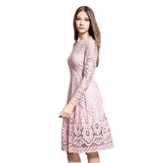 2017 New Summer Women Bohemian Dresses White Lace Cute Long Sleeve Pink/White/Black/Red Dress Clothing Plus Size S4 #Affiliate