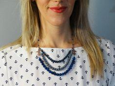 Blue Grey Jewelry Set - Blue Necklace & Bracelet Set - Multi...