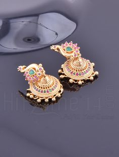 Jhumkas with Designer Peacock Ruby and Emerald Stones